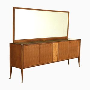 Italian Mirrored Glass, Walnut Veneer & Brass Sideboard, 1950s