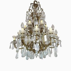 Antique Chandelier in Gilded Bronze with Crystals, 1880s