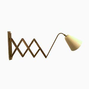 Large Italian Brass Scissor Wall Light, 1950s
