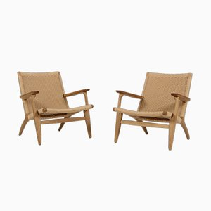 Oak & Paper Cord CH25 Chairs by Hans J. Wegner for Carl Hansen & Søn, 1950s, Set of 2