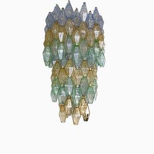Lámpara de araña con poliedros de cristal de Murano de Carlo Scarpa para Venini, años 60