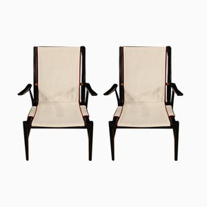 Italian Wood & Fabric Armchairs, 1960s, Set of 2