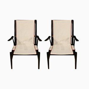 Italienische Armlehnstühle aus Holz & Stoff, 1960er, 2er Set
