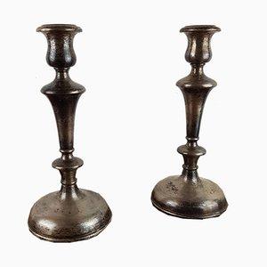Antike französische Kerzenhalter aus Silber, 2er Set
