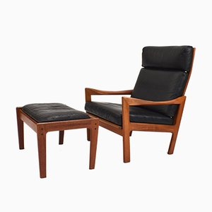 Teak and Leather Chair & Ottoman Set by Illum Wikkelsø for Niels Eilersen, 1960s