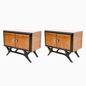 Italian Walnut & Ebonized Wood Nightstands with Painted Handles, 1950s, Set of 2