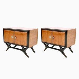 Tables de Chevet en Noyer et Bois Noirci avec Poignées Peintes, Italie, 1950s, Set de 2