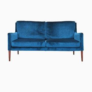 Mid-Century Danish Velvet 2-Seater Sofa