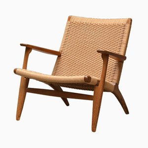 Oak and Paper Cord CH25 Lounge Chair by Hans J. Wegner for Carl Hansen & Søn, 1960s
