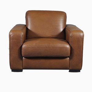 Large Vintage Brown Leather Club Chair