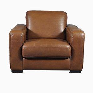 Sillón Club vintage grande de cuero marrón