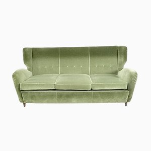 Italian Olive Green Velvet Sofa with Ebonized Wood Feet, 1950s
