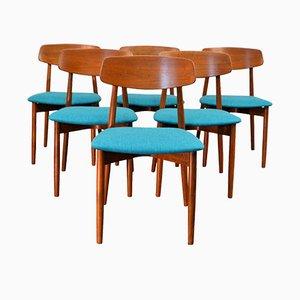 Sedie da pranzo vintage in teak di Harry ØStergaard per Randers Møbelfabrik, set di 6