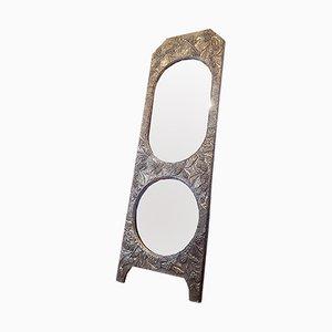 Freistehender antiker Jugendstil Spiegel mit Messingrahmen