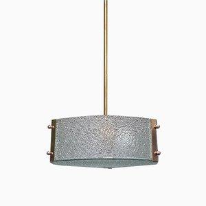Vintage French Full Glass & Brass Pendant Lamp