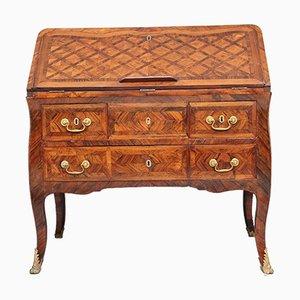 Buró francés antiguo de madera real, década de 1780