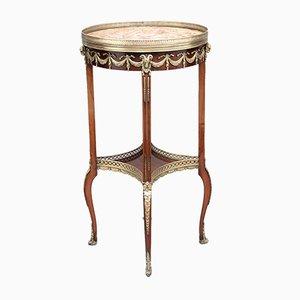 Tavolino antico in mogano e ottone