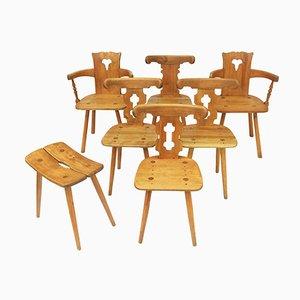 Französische Esszimmerstühle, 1960er, 7erSet