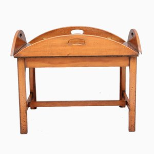 Mid-Century Yew Wood Butlers Tray on Stand