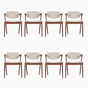 Scandinavian Model 42 Rio Rosewood Chairs by Kai Kristiansen for Schou Andersen, 1961, Set of 8