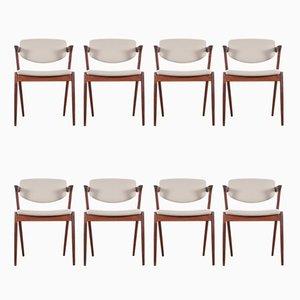 Skandinavische Modell 42 Rio Stühle aus Palisander von Kai Kristiansen für Schou Andersen, 1961, 8er Set