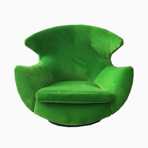 Vintage Green Velvet Egg Swivel Chair
