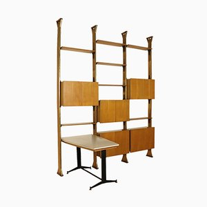 Italian Oak, Formica, Veneer, Brass & Metal Bookcase, 1960s