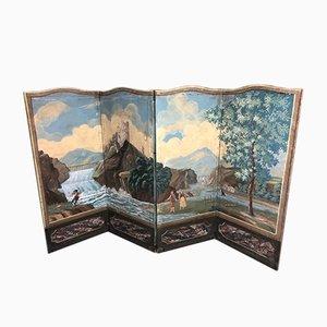 Biombo estilo Directorio antiguo con pinturas al óleo sobre lienzo