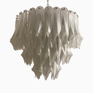 Large Mid-Century Murano Feather Chandelier from Mazzega