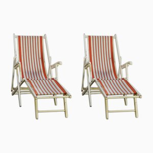 Beech Folding Deckchairs, 1960s, Set of 2