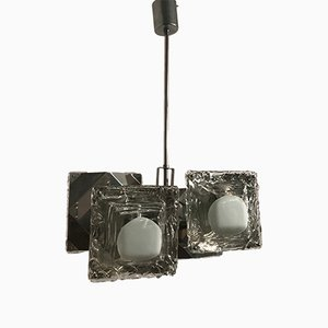 Mid-Century Chrome and Murano Glass Pendant from Mazzega