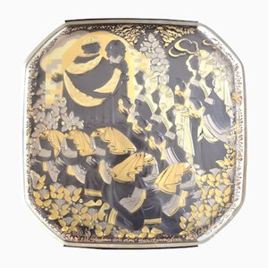 Piatto da parete vintage in vetro di Bjørn Wiinblad per Rosenthal