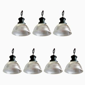 Ceiling Lamps from Holophane, 1920s, Set of 7