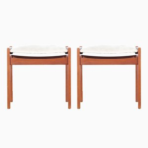 Mid-Century Scandinavian Teak Stools, Set of 2