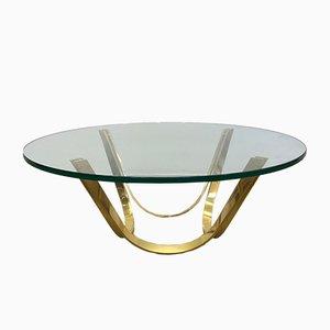 Tavolino da caffè rotondo Mid-Century dorato di Werner Linder per Bacher