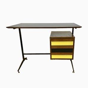 Kleiner italienischer Mid-Century Schreibtisch mit Schubladen in Schwarz & Gelb
