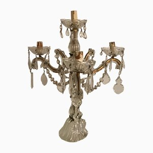 Vintage Crystal Candelabra Table Lamp