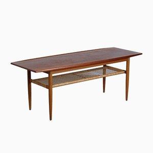 Table Basse en Jonc Tressé et Teck, Danemark, 1960s