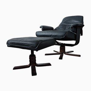 Vintage Drehstuhl und Fußhocker von Unico