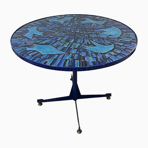 Mid-Century Italian Blue Dining Table with Enameled Copper Top, 1950s