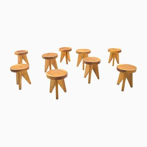 French Three-Legged Wooden Stools, 1960s, Set of 9