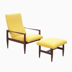 Mid-Century Scandinavian Reclining Armchair with Footrest