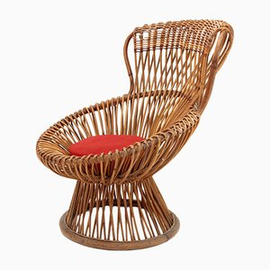 Margherita Rattan Side Chair by Franco Albini for Bonacina, 1950s