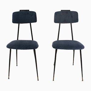Stühle aus Metall mit blauen Samtbezügen, 1950er, 2er Set