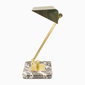 Lámpara de mesa de banquero dorada con pie de mármol, años 60