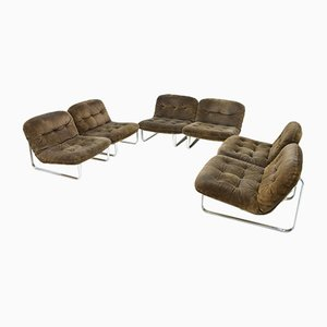 Slipper Lounge Chairs in Chrome & Suede, 1970s, Set of 6