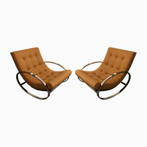 Italian Metal & Leather Rocking Lounge Chairs by Renato Zevi, 1970s, Set of 2