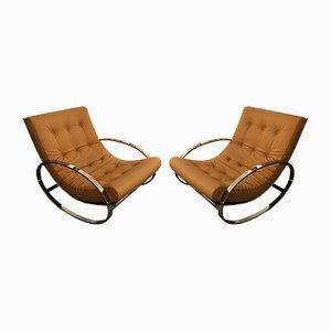 Rocking Chairs en Métal et Cuir par Renato Zevi, Italie, 1970s, Set de 2