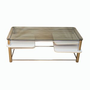 Coffee Table with Smoked Glass & Pivoting Shelves, 1970s