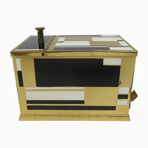 Art Deco Black & White Brass Cigarette Dispenser from Erhard & Söhne